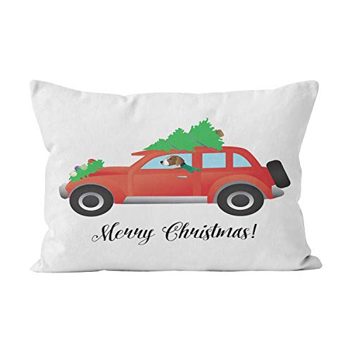 Car Tree Funny One (Wesbin American Foxhound Driving Car with Christmas Tree Funny Hidden Zipper Home Decorative Rectangle Throw Pillow Cover Cushion Case Inch 20x30 Queen One Side Design Printed Pillowcase)