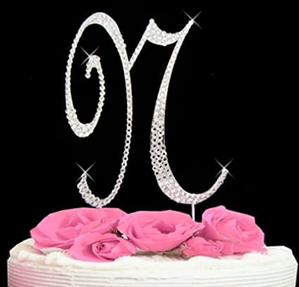 rhinestone cake topper letter n by other