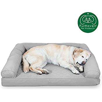 Furhaven Pet Dog Bed | Cooling Gel Memory Foam Quilted Traditional Sofa-Style Living Room Couch Pet Bed w/ Removable Cover for Dogs & Cats, Silver Gray, Jumbo