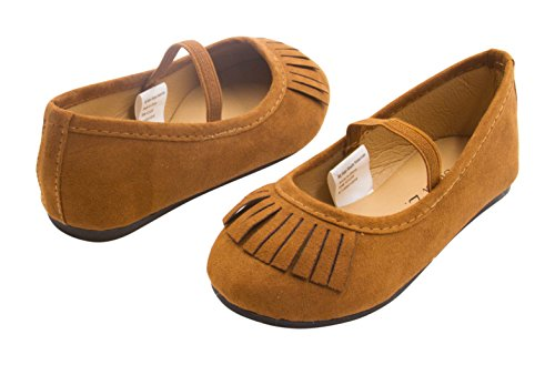 Sara Z Toddler Girls Microsuede Fringe Slip On Ballet Flat with Arch Strap Cognac Size 7-8 (Old West Outfit)