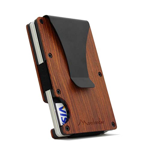 0a2fbf3ab04a1 Natural Wood Credit Card Holder Wooden Case Slim RFID Blocking Metal Wallet  Money Cash Clip Collection