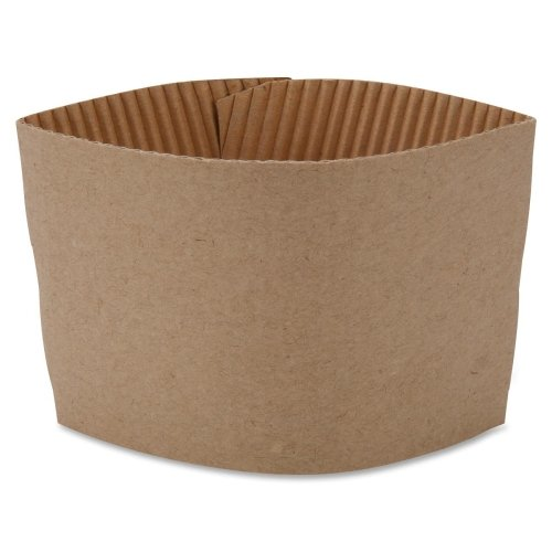 Genuine Joe GJO19049PK Protective Corrugated Cup Sleeve, Brown (Pack of 50)