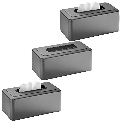 mDesign Modern Metal Tissue Box Cover for Disposable Paper Facial Tissues, Rectangular -