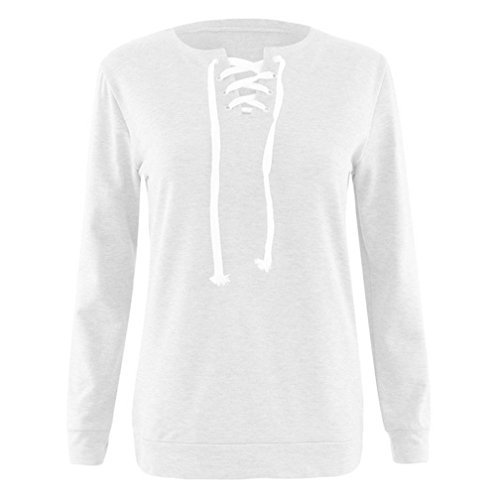 XUANOU Women Wearing Rope Collar Long Sleeve Pullover Blouse T-shirt (Large, White) - Advantage Pullover