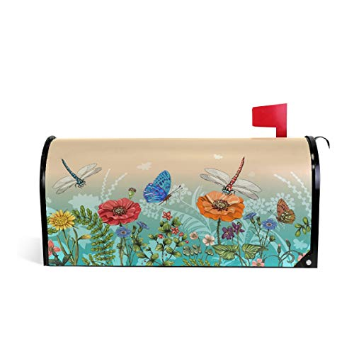 Wamika Dragonflies Butterflies Letter Magnetic Mailbox Cover Post Grass Plants Flowers Oversized Home Garden Residence Yard Outdoor Decor Blossoms Magnetic Mailbox Cover