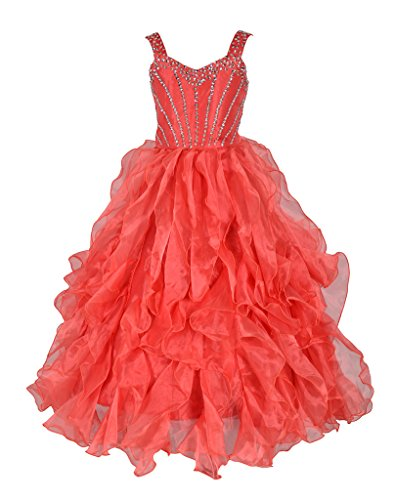GreenBloom Girls Sequins Ruffles Formal Ball Gowns Girls Pageant Dresses Orange 12