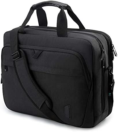 17.3 Inch Laptop Bag,BAGSMART Large Expandable Briefcase Business Travel Bag Computer Office Bag Shoulder Bag for Men Women Water Resistant Anti Theft Durable,Black