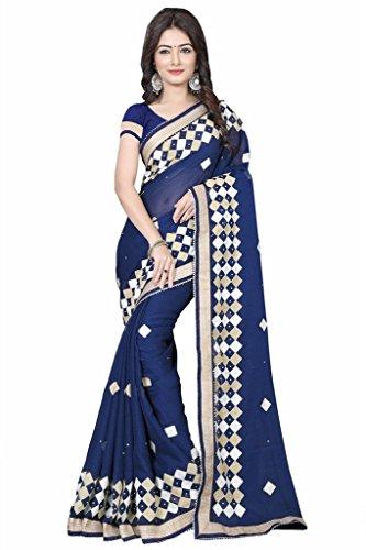 Li Te Ra Blue Chiffon Aari Embroidered - Te Li