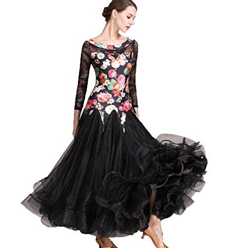 Da Vestito Tango Wqwlf Danza Donne Black Ballo Costumi Spettacolo Per Swing Xl Pizzo Di s Foxtrot Sala Grande Valzer Outfit 7Ix14qwE1B
