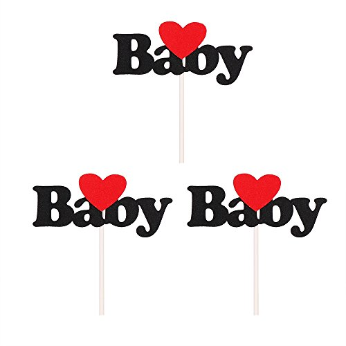QIYANO-Red-Love-Star-and-Black-Baby-Cake-Toppers-Shower-Cake-Topper-Decoration-Set-of-3