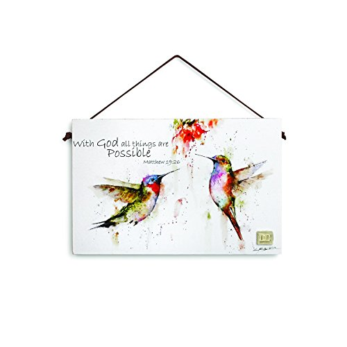 Big Sky Carvers Matthew 19:26 Hummingbird Inspirational Wall Plaque