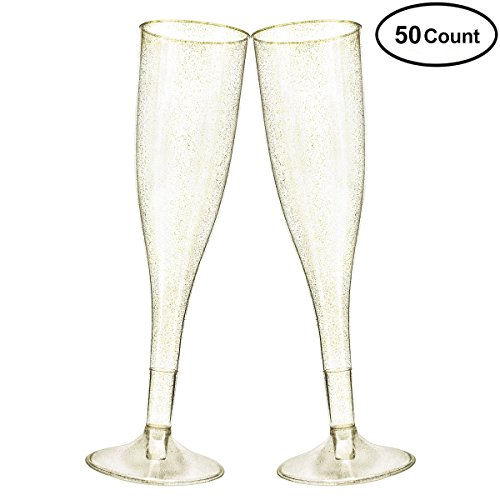 Gold Glitter Plastic Cups 50 Pack Ordenado 5.5 Oz Transparent Old Fashioned Tumblers Cups Fancy Disposable Wedding Cups Elegant Party Cups with Sequins