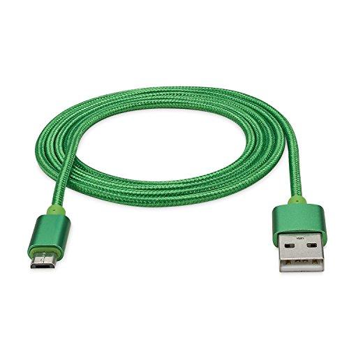 rocabo 1,2m Premium Micro-USB auf USB Kabel grün - Handy Lade-Kabel - Datenkabel - Synchronisation-Kabel - Nylonmantel - für Android, Samsung, HTC, Sony, Nokia, LG, HP Blackberry, Motorola und viele mehr