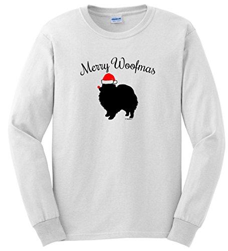 Ugly Christmas Sweater Merry Woofmas Dog Santa Hat Pomeranian Christmas Long Sleeve T-Shirt Medium White Pomeranian Baseball