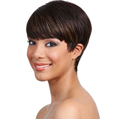 SmartFactory Short Black Bobo Human Hair Wig For Halloween Cosplay Party by SmartFactory