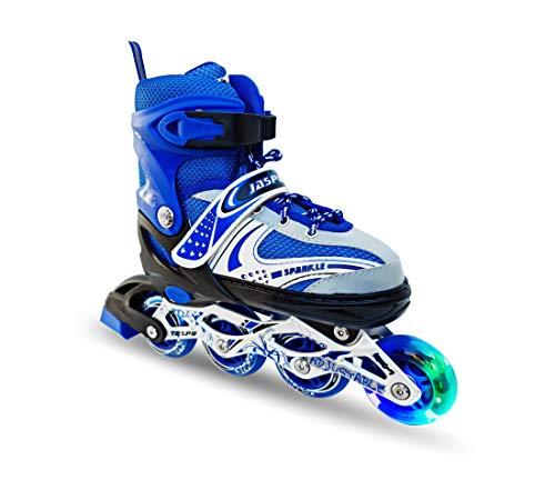 Jaspo Sparkle Adjustable Inline Skates with Front Light up Wheels Beginner Skates Fun Illuminating Roller Skates for All Boys and Girls