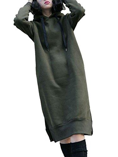 Women Hooded Long Sleeve Drawstring Split Pockets Solid