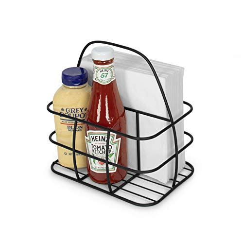 Takyl Home Metal Wire Condiment Holder Table Stand Caddy Organizer Rack with Handle for Salt Pepper Ketchup Mustard Bottles Dressing BBQ Steak Sauces Napkin Cutlery in Kitchen Restaurants, Black