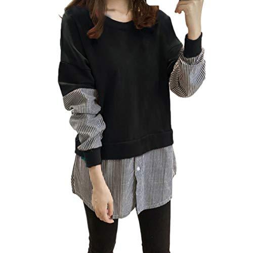 ado Longues Shirt Bouton Fille Sweat Blouse Shirt Haut Manches dcontract raye Chemisier Sport Sweat Femme de Noir Chemise Hw17Y1