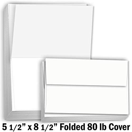 (Hamilco Card Stock Folded Blank Cards with Envelopes 5 1/2 x 8 1/2