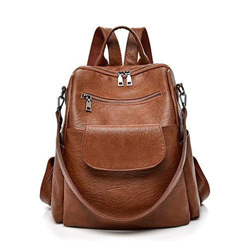 Women fashion brown washed pu leather designer backpack best waterproof bookbag shoulder bag travel rucksack purse (Brown【PU】) ()