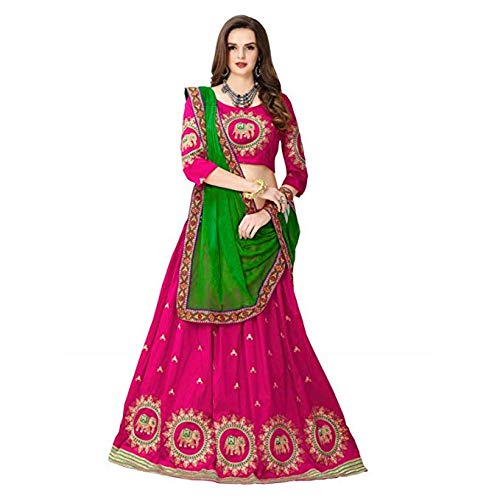 ead028fd67 Jil Creation Women's Banglori Satin Embroidered Semi Stitched Lehenga  Chaniya Ghagra Choli (JC025_Multicolor): Amazon.in: Clothing & Accessories