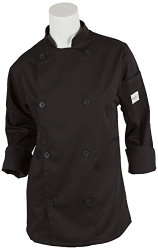 Mercer Culinary M61030BKS Genesis Women's Chef Jacket with Traditional Buttons, Small, Black (Traditional Chefs Ladies Jacket)