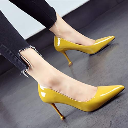 ladies simple shoes banquet shoes sexy Spring mouth and shoes pointed leather fashion stiletto single C patent shallow heels YMFIE work autumn T8Uqttw