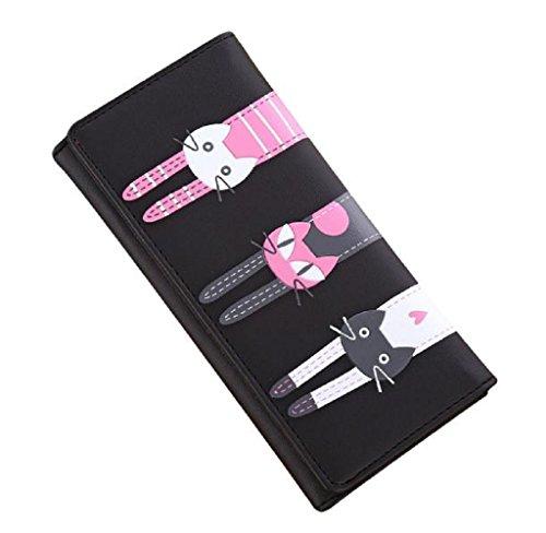 Women Retro Long Leather Wallet Black Pink - 8