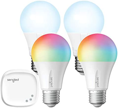 Smart Light Bulb,Sengled Color Changing Lights,E26 RGB Light Bulbs That Work with Alexa,Echo,Google Home,8.6W 60W Equivalent ,Soft White 2000K-6500K,800LM, 2 Color Lights 2 LED Bulbs 1 Hub