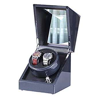 Watch Winder Love Nest Carbon Fiber High-Grade Japanese Mabuchi Motor Wood Automatic Watch Winder Piano Finish Pure Handmade with Quiet Watch Winder Box 6H3