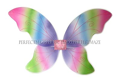 "Perfctmaze Perfectmaze Large Adult 34""x24"" Glitter Fairy Butterfly Pixie Dance Wings - 7 Colors"