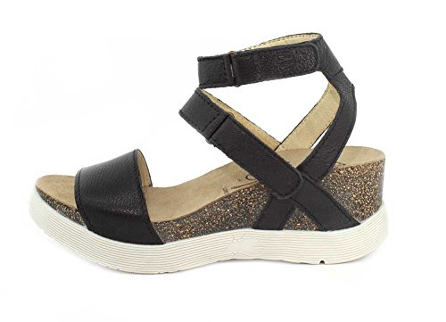 Mousse London Black WINK196FLY Wedge Fly Women's Sandal S0dwYHHq