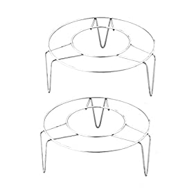 uxcell Stainless Steel Round Shape 3 Legs Design Cooking Steamer Steam Rack 2 Pcs