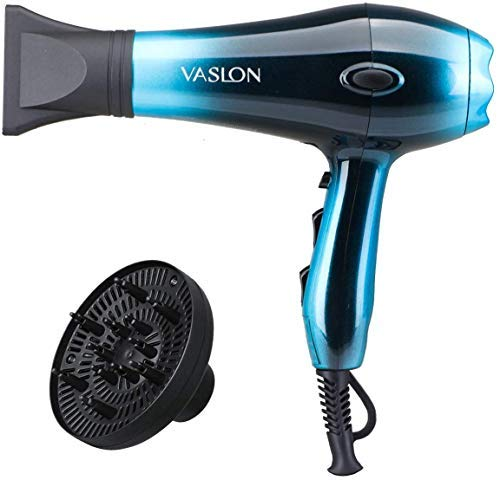VASLON 1875W Professional Hair Dryer,Negative Ion Blow Dryer Professional Salon Hair Blow Dryer Fast Dry Low Noise,with Concentrator, Diffuser, 2 Speed and 3 Heat Setting Blue