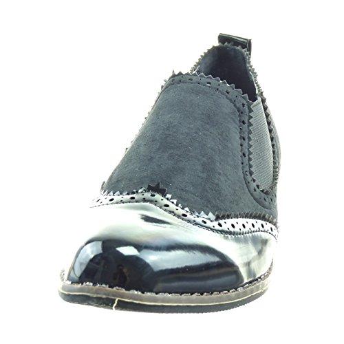 Sopily - Scarpe da Moda Sneaker chelsea boots bi-materiale alla caviglia donna verniciato perforato Tacco a blocco 2.5 CM - Nero