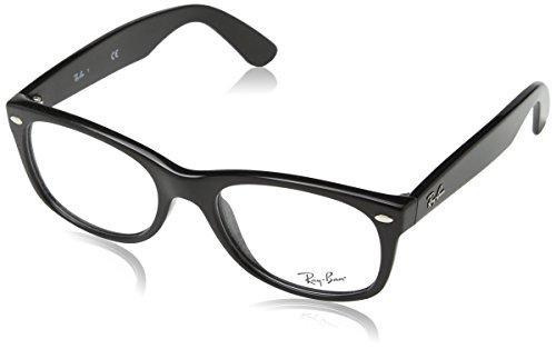 Ray-Ban RX5184 New Wayfarer Eyeglass Frames, Shiny Black/Demo Lens, 52 ()