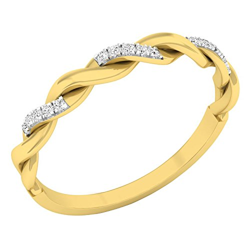 Dazzlingrock Collection 0.05 Carat (ctw) 14K Round Diamond Bridal Wedding Band Stackable Swirl Ring, Yellow Gold, Size 8