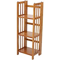 3-Shelf Folding Bookcase in Honey Oak Finish