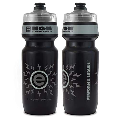 NGN Sport - High Performance Bicycle/Bike Water Bottle for Triathlon, MTB, and Road Cycling - 24 oz (Black/Gray ()