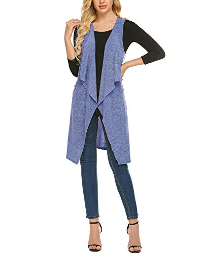 - ZEGOLO Womens Lightweight Sleeveless Draped Open Front Cardigan Vest with Pockets and Belt Blue Small