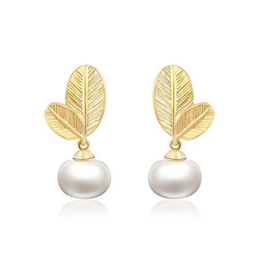 Ohrstecker Ohrringe Damen - Die Form der Foliage - 18K Vergoldet - 6mm Natürliche Schale Perle - AAA Zirkonia