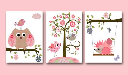 Kinderzimmer Poster Set Eule und Igel Rosa (Poster Matt): Amazon.de ...