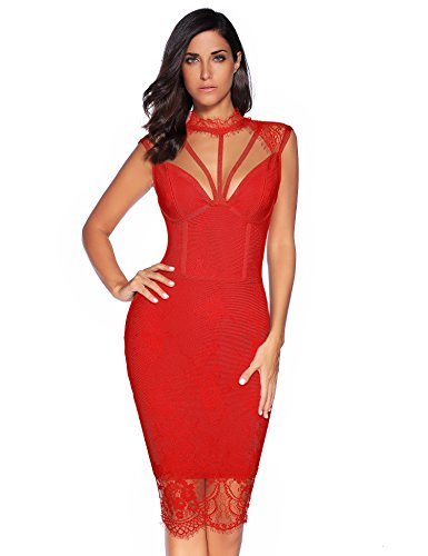 Rayon Party Dress Womens (Meilun Womens Rayon Lace Patchwork Sleeveless Bandage Bodycon Club Party Dress (M, Red))