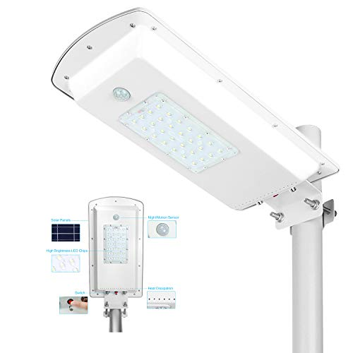 TENKOO Solar Powered Street Light Dusk to Dawn, Lithium Battery -Wireless-Waterproof IP65-Light/Motion Sensor Commercial or Industrial Grade Security Street Lights Perfect for Outdoor Lighting Area Review