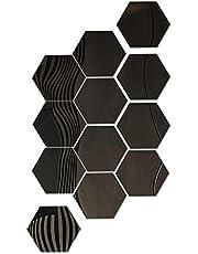 Hexagon Spiegel Muurstickers Zelfklevende Acryl Spiegel muur Sticker voor DIY Wanddecoratie 17,7 x 15,3 x 9 cm Set van 12, svart