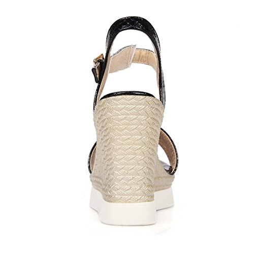AllhqFashion Womens Solid PU High Heels Open-Toe Buckle Sandals Black GEW9Po7w8I