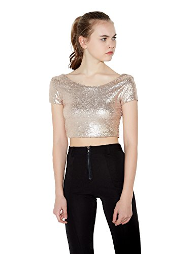 ASMAX HaoDuoYi Women Sparkly Sequin Crop Backless Pullover Sexy Bodycon Club T Shirt Gold