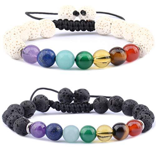 Massive Beads Handmade Essential Oils Aromatherapy Bracelets Jewelry - Terra - 7 Chakra & White Lava Stones Plus 7 Chakra & Pink Lava Rock Stones Chakra Diffuser for Women