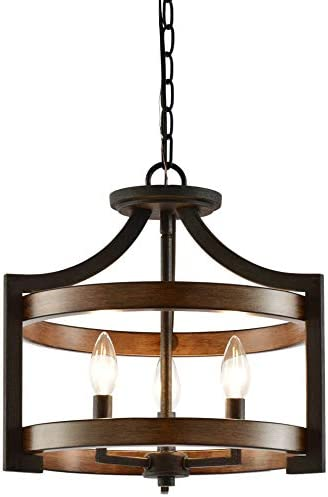 Kira Home Woodrow 15″ 3-Light Industrial Farmhouse Semi Flush Convertible Pendant Light Wood Style Metal Drum Shade